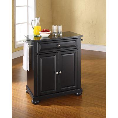 Picture of Alexandria Black Granite Top Kitchen Cart, Black *