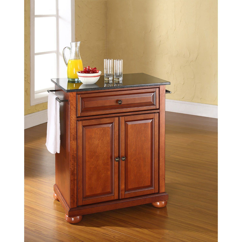 Alexandria Black Granite Top Kitchen Cart, Cherry