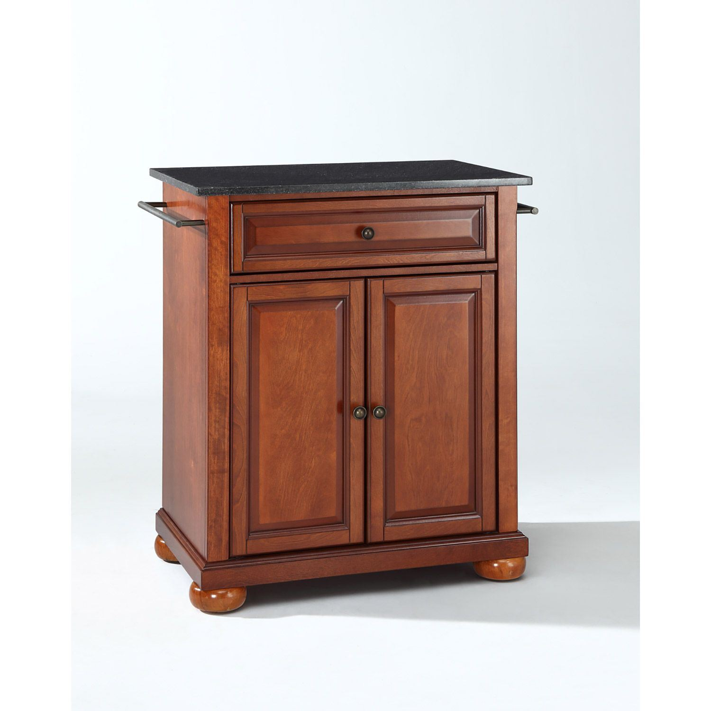 Picture of Alexandria Black Granite Top Kitchen Cart, Cherry