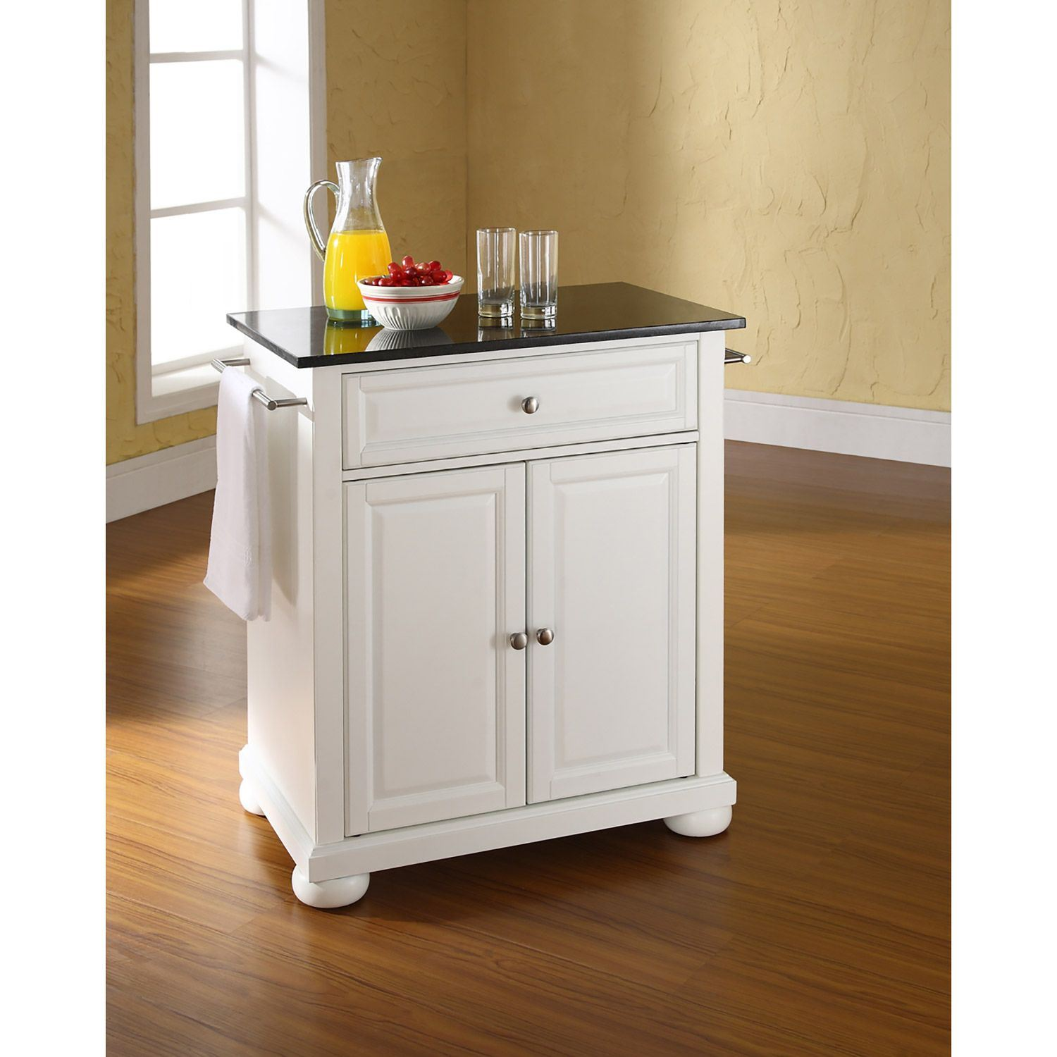 white kitchen island with granite top alexandria black granite top kitchen cart white kf30024awh crosley furniture afw com 3868