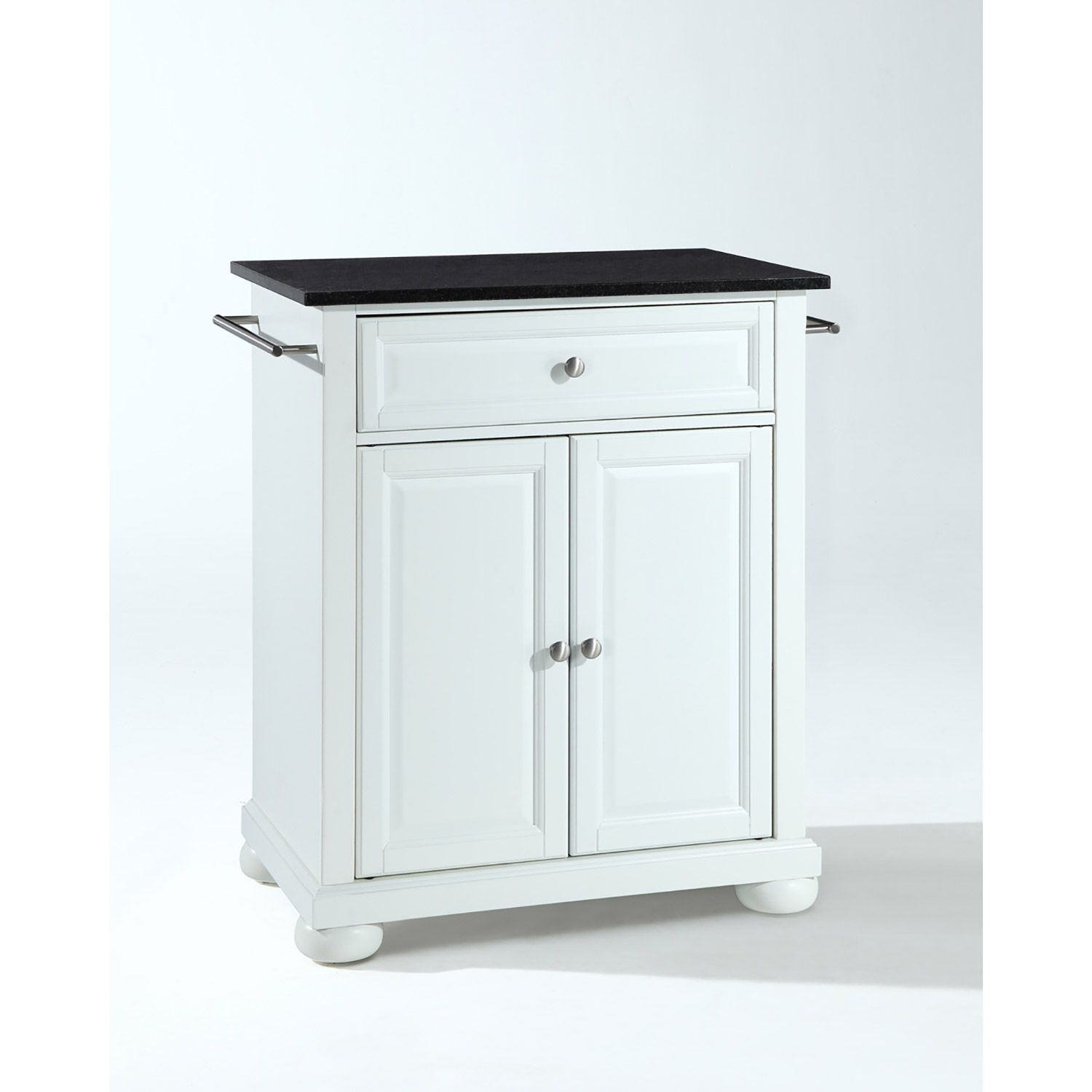 Picture of Alexandria Black Granite Top Kitchen Cart, White *