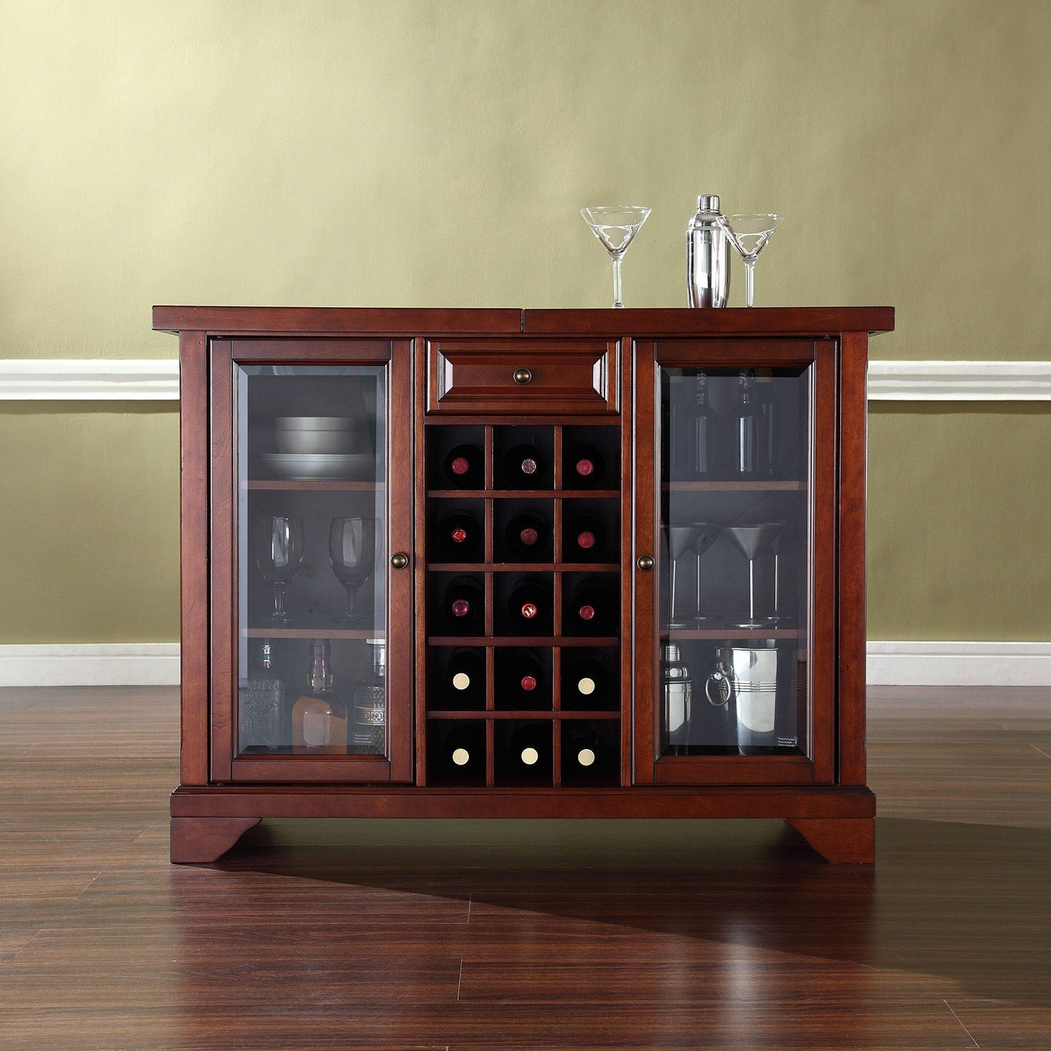 Picture of Lafayette Sliding Top Bar Cabinet, Mahogany *D