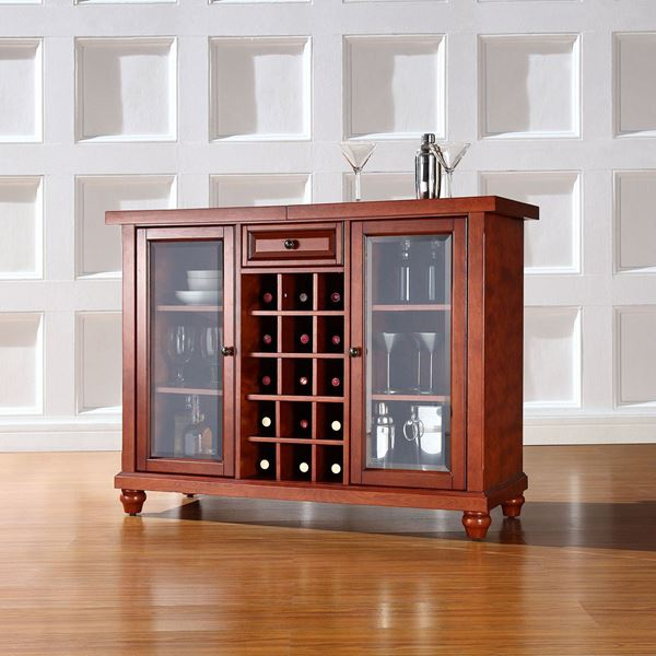 Picture of Cambridge Sliding Top Bar Cabinet, Cherry *D