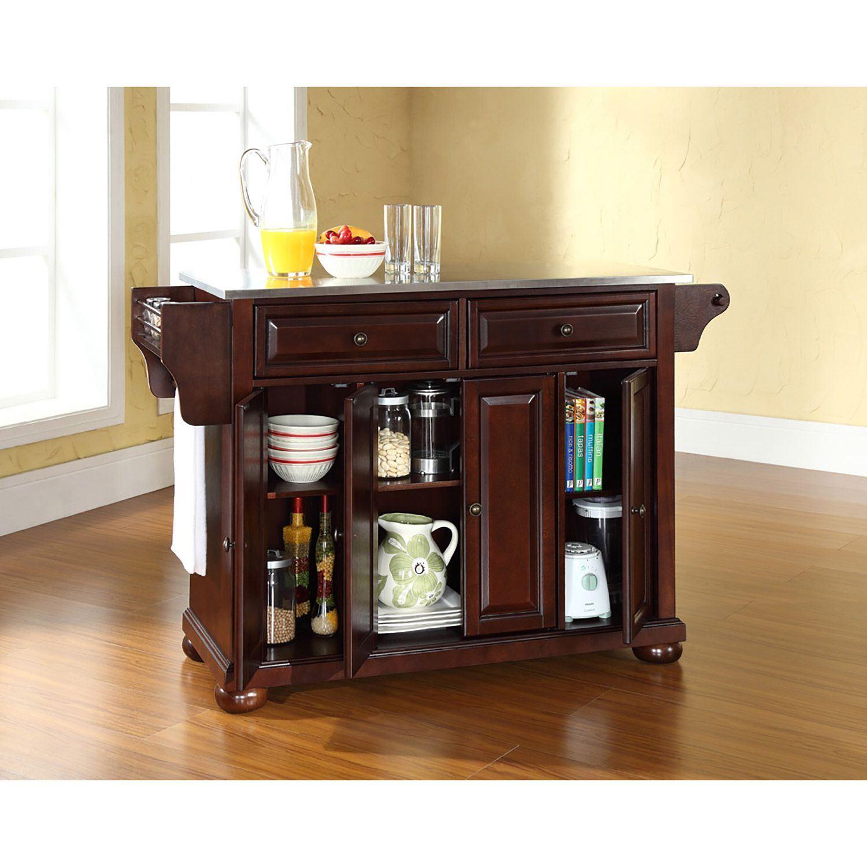 Picture of Alexandria Steel Top Kitchen Cart, Mahogany *D
