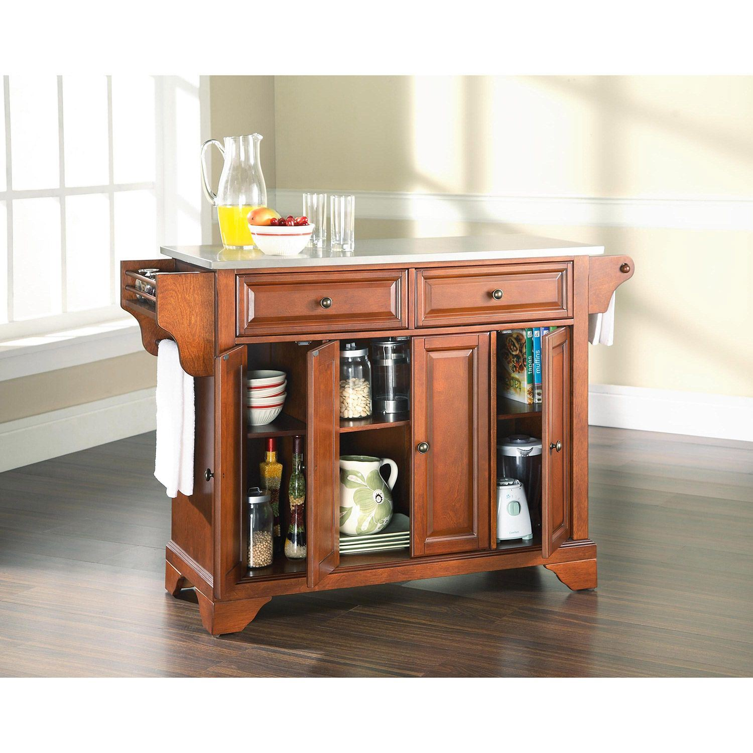 Picture of Lafayette Steel Top Kitchen Cart, Cherry *D