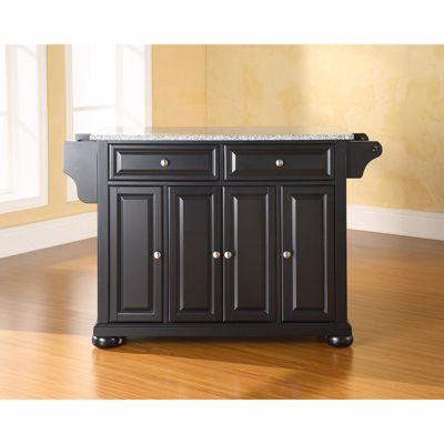 Picture of Alexandria Granite Top Kitchen Cart, Black *D