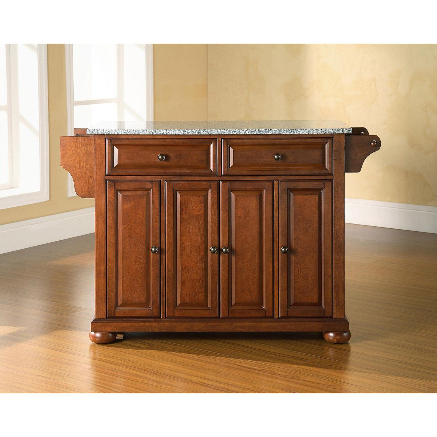 Picture of Alexandria Granite Top Kitchen Cart, Cherry *D
