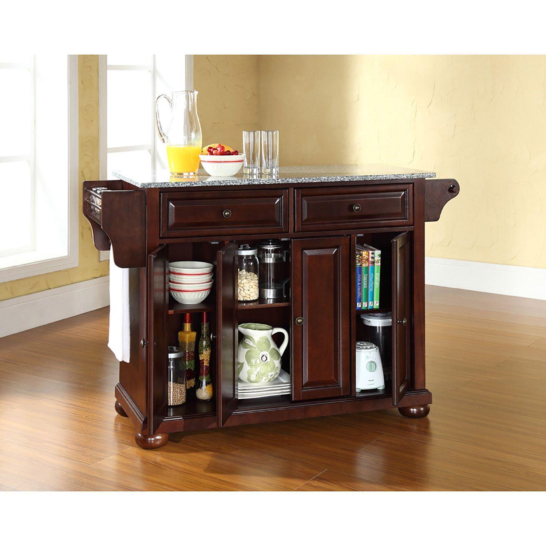 Picture of Alexandria Granite Top Kitchen Cart, Mahogany *D