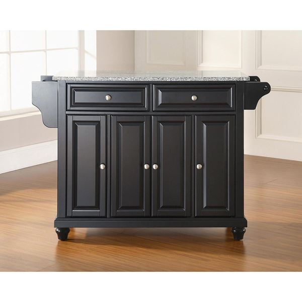 Picture of Cambridge Granite Top Kitchen Cart, Black *D