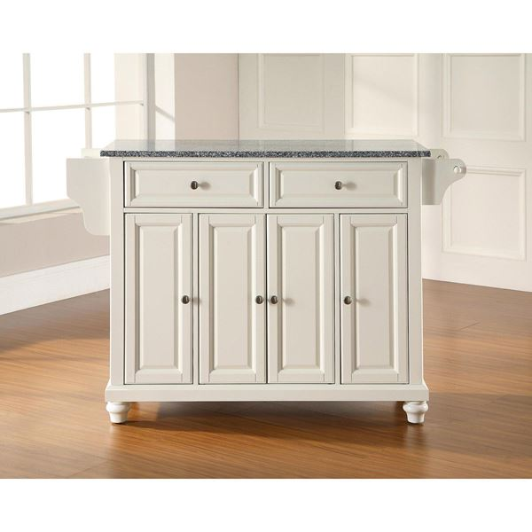 Picture of Cambridge Granite Top Kitchen Cart, White *D