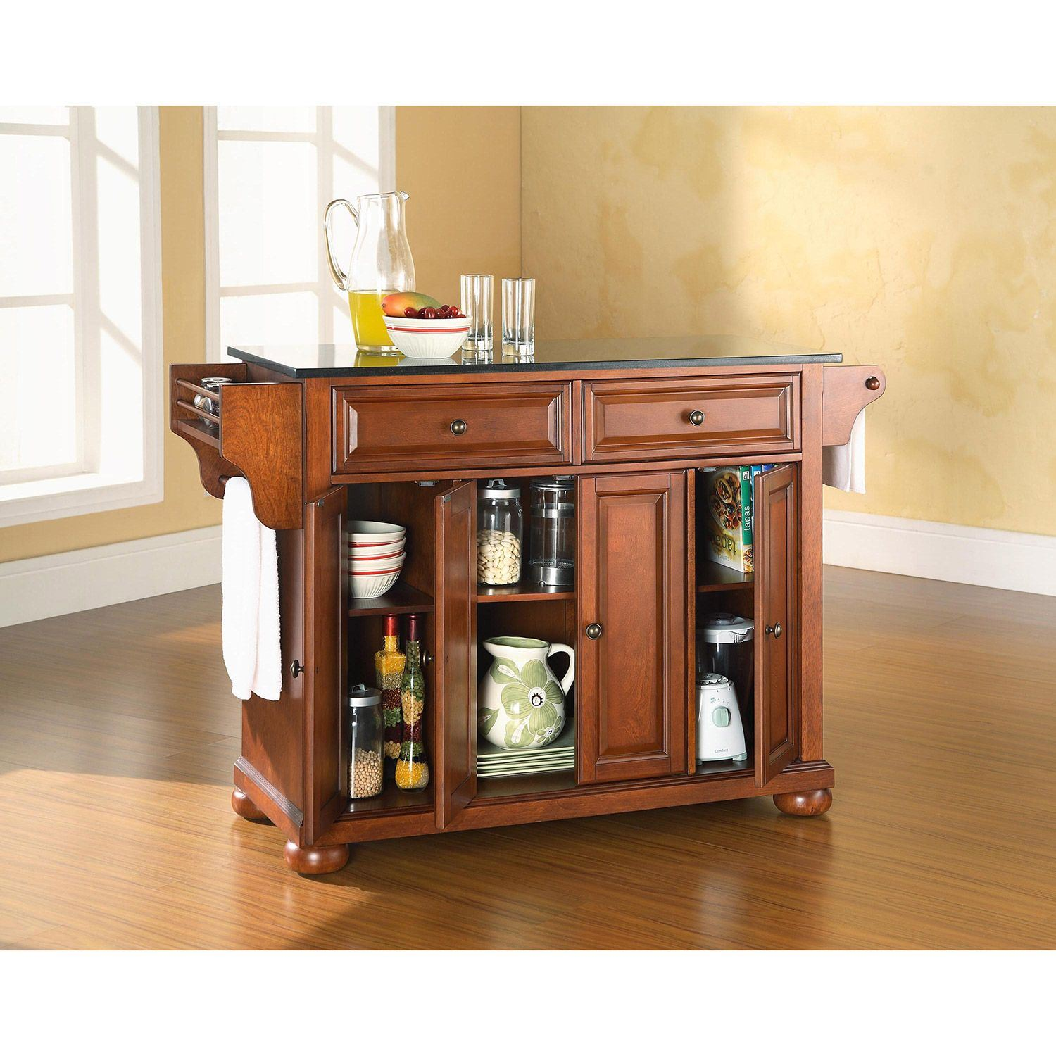 Picture of Alexandria Black Granite Top Kitchen Cart, Cherry *D