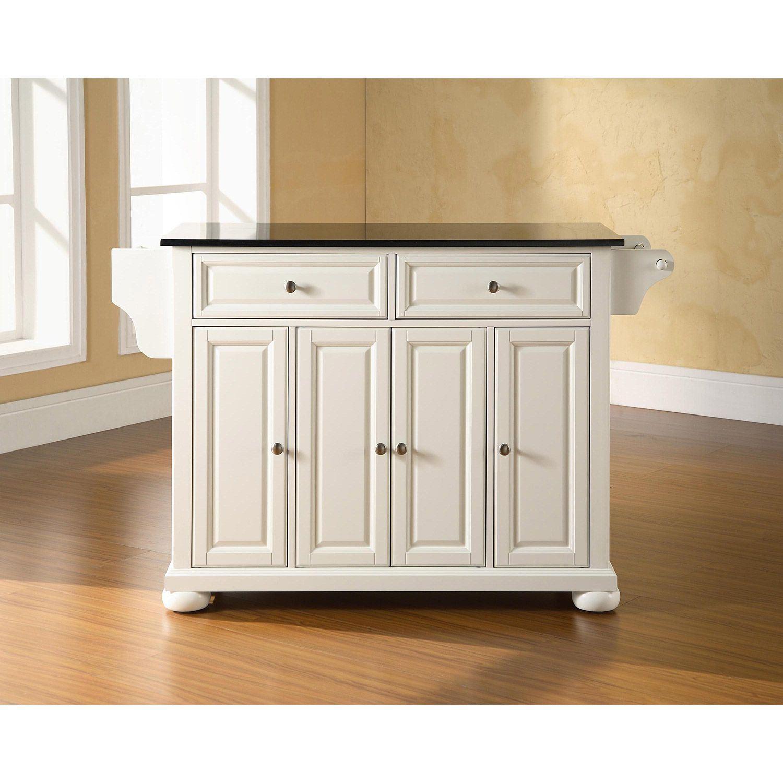 Picture of Alexandria Black Granite Top Kitchen Cart, White *