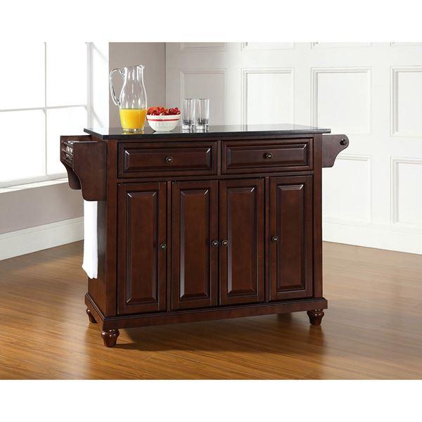 Picture of Cambridge Black Top Kitchen Cart, Mahogany *D