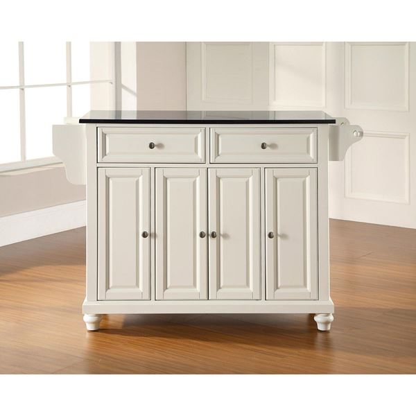 Picture of Cambridge Black Top Kitchen Cart, White *D