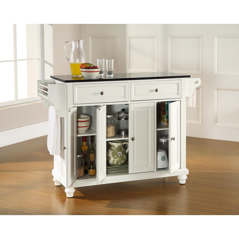 Picture of Cambridge Black Top Kitchen Cart, White *D