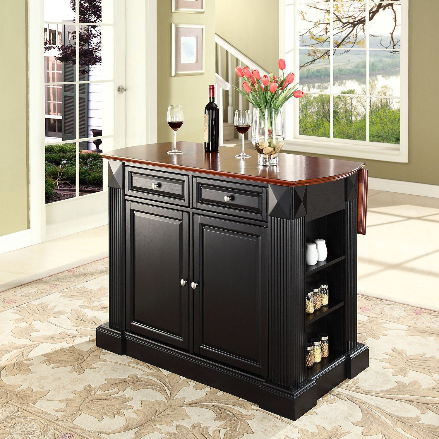 Picture of Drop Leaf Breakfast Kitchen Cart, Black *D
