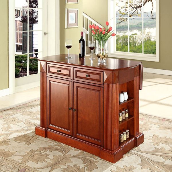 Picture of Drop Leaf Breakfast Kitchen Cart, Cherry *D