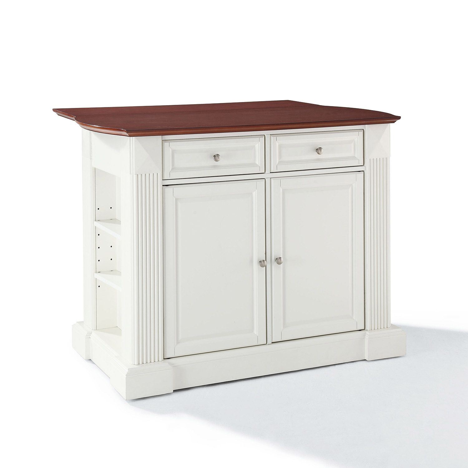 Picture of Drop Leaf Breakfast Kitchen Cart, White *D