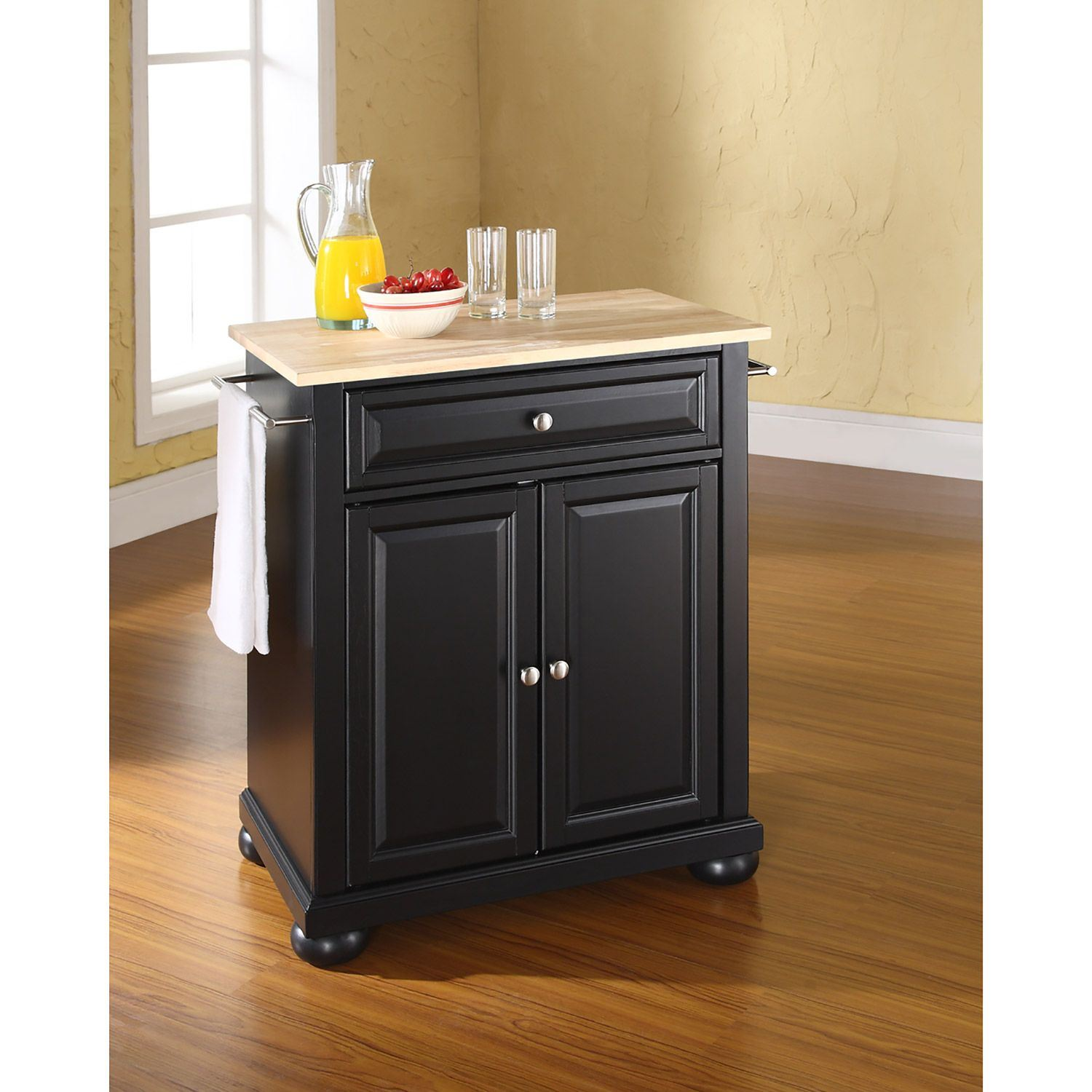 Alexandria Wood Top Kitchen Cart Black D