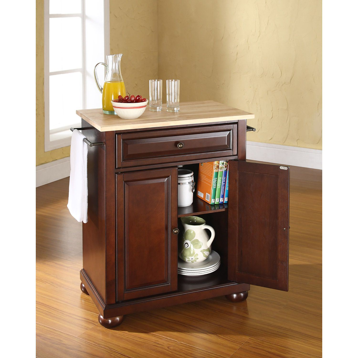 Picture of Alexandria Wood Top Kitchen Cart, Mahogany *D