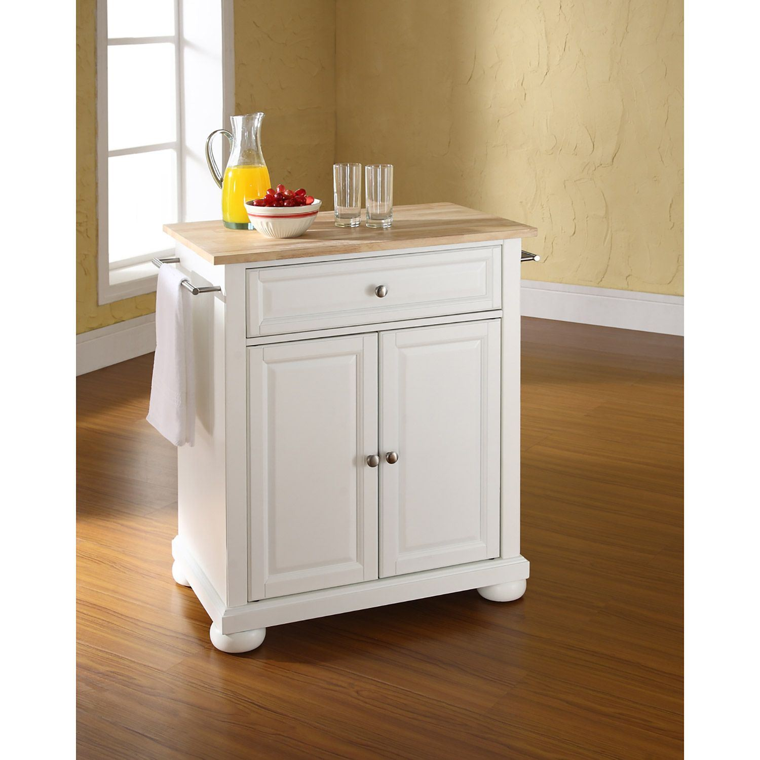 Picture of Alexandria Wood Top Kitchen Cart, White *D