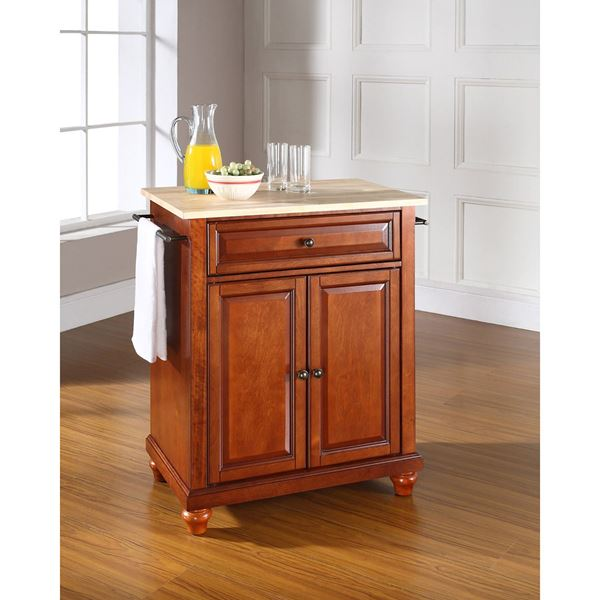 Picture of Cambridge Wood Top Kitchen Cart, Cherry *D