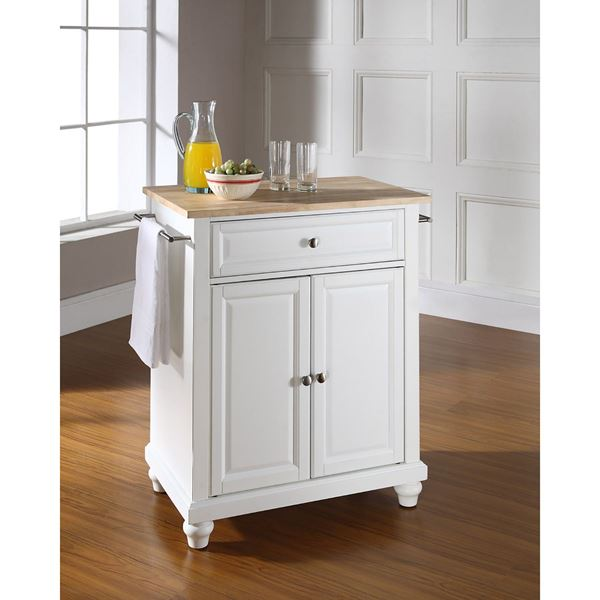 Picture of Cambridge Wood Top Kitchen Cart, White *D