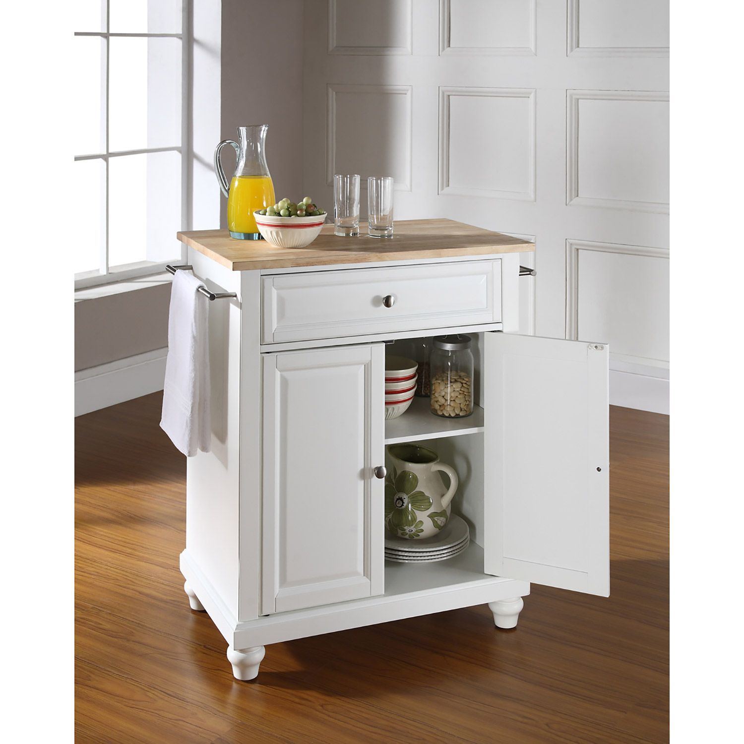 Cambridge Wood Top Kitchen Cart White D