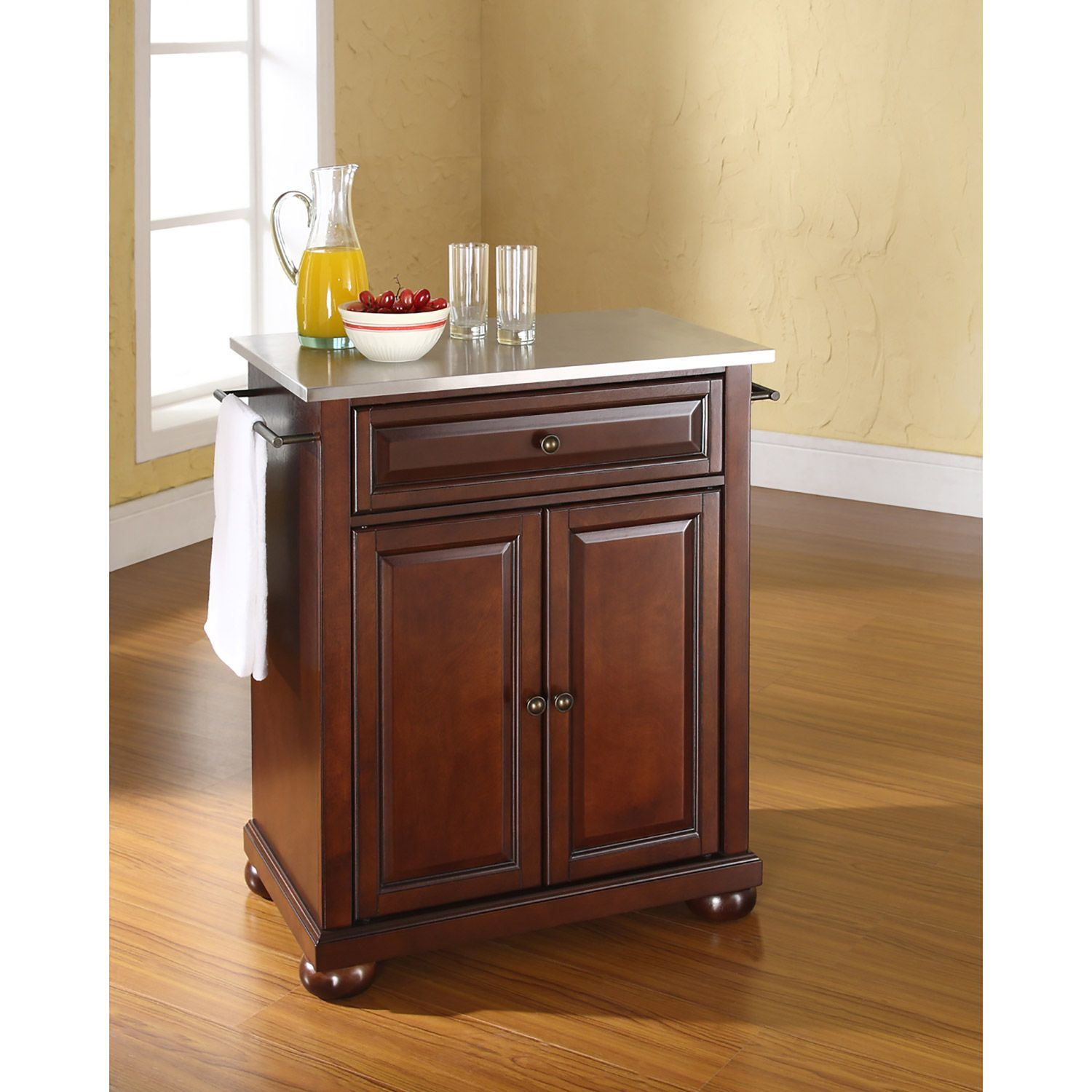 Picture of Alexandria Steel Top Kitchen Cart, Mahogany *D