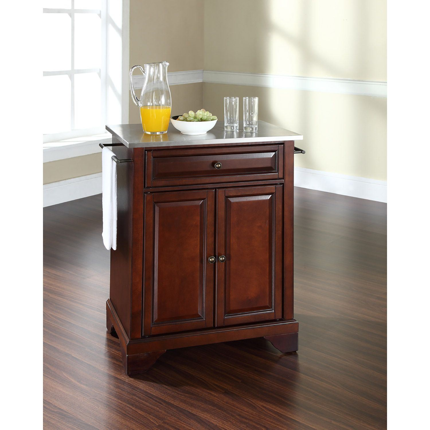 Picture of Lafayette Steel Top Kitchen Cart, Mahogany *D