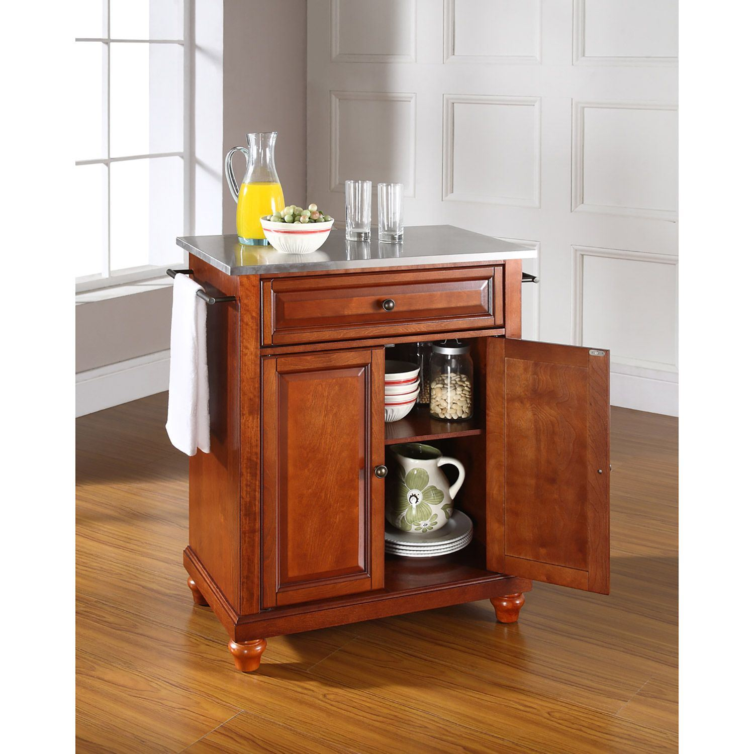 Picture of Cambridge Steel Top Kitchen Cart, Cherry *D