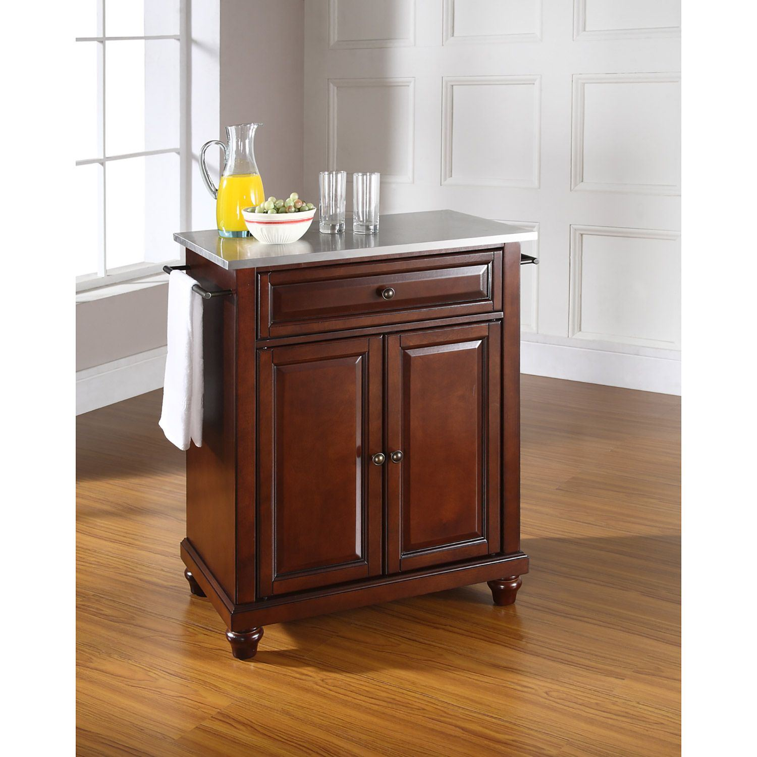 Picture of Cambridge Steel Top Kitchen Cart, Mahogany *D