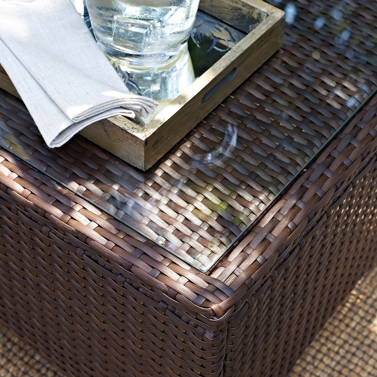 Picture of Kiawah Outdoor Glass Top Table, Brown *D