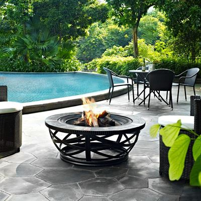 Picture of Glendale Round Slate Fire Pit Black *D