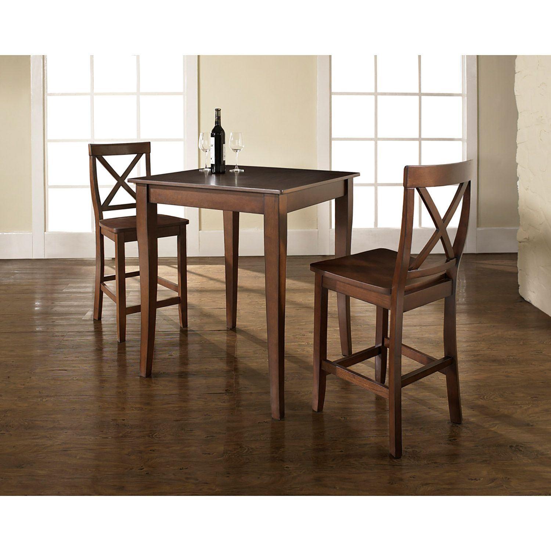 3 Piece Pub Dining Set Mahogany D Kd320001ma Crosley Furniture