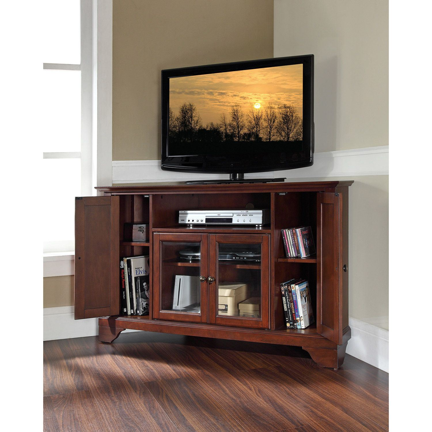 Picture of Lafayette 48in Corner TV Stand, Mahogany *D