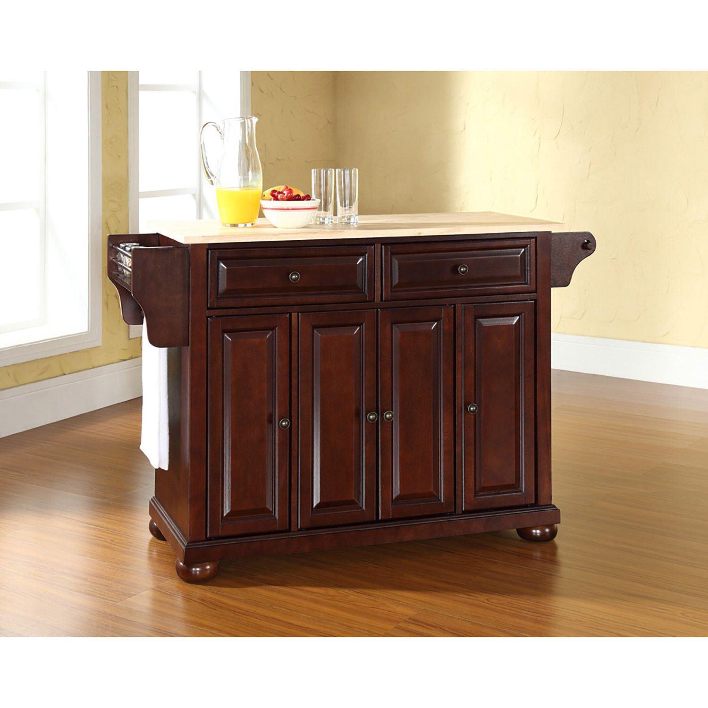 Picture of Alexandria Wood Top Kitchen Cart, Mahogany *D