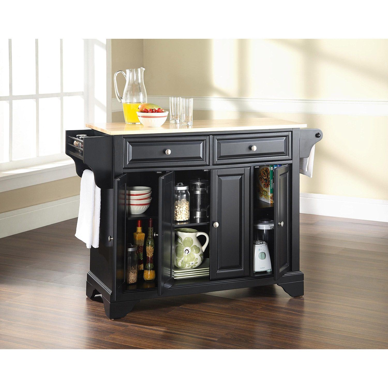 Picture of Lafayette Wood Top Kitchen Cart, Black *D