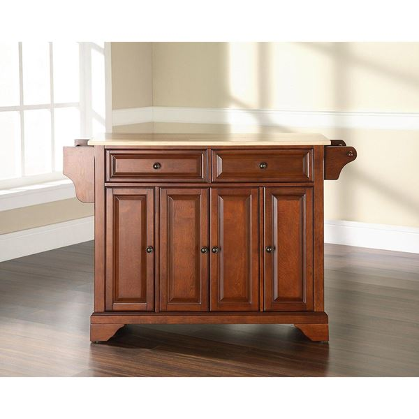 Picture of Lafayette Wood Top Kitchen Cart, Cherry *D