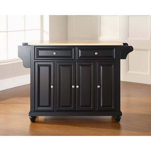 Picture of Cambridge Wood Top Kitchen Cart, Black *D