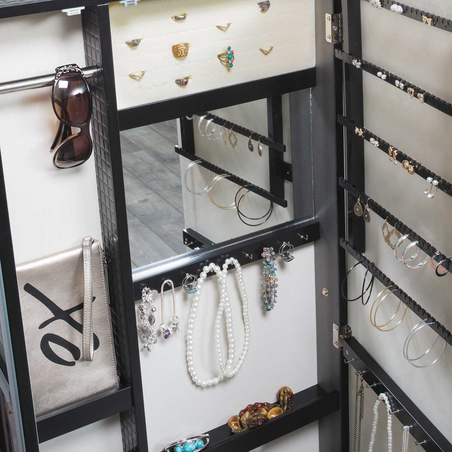 Picture of Black Picture-Insert Jewelry Storage Mirror