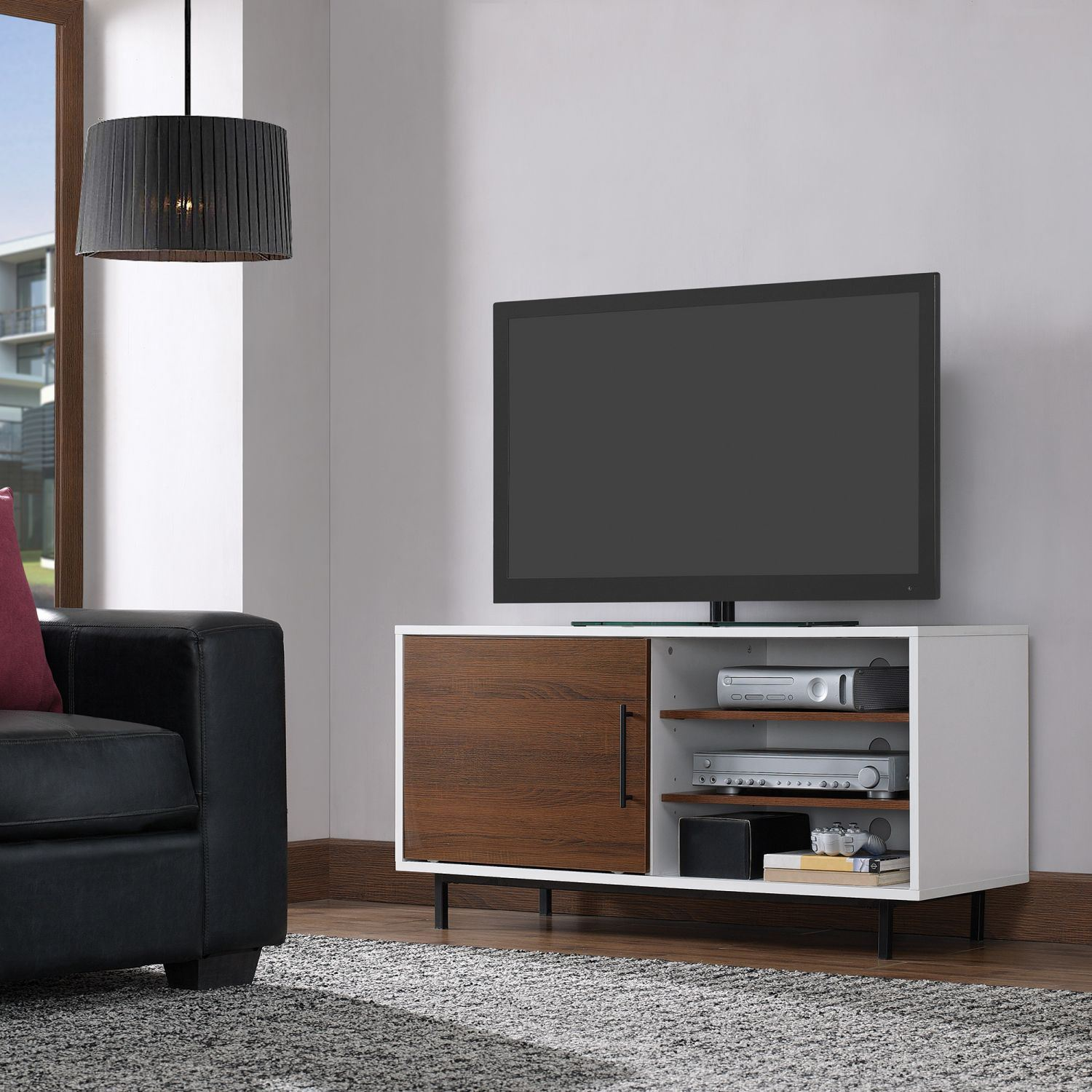 Wakeman Two Tone Tv Stand D Tc48 6160 Nt01 Classic Flame Twin