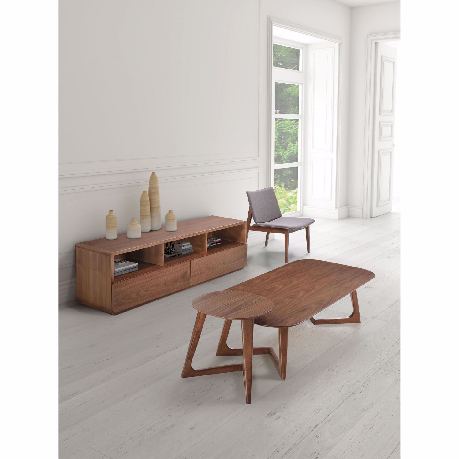 Park West Side Table Walnut 100098 Zuo Modern