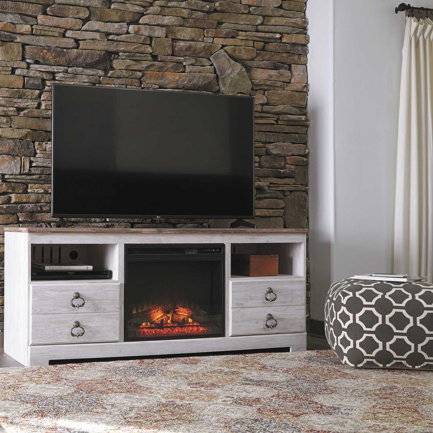 Willowton Tv Stand With Fireplace Ashley Furniture W267 68 Afw Com