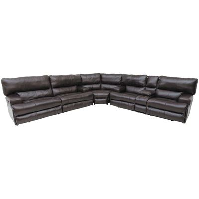 Picture of Chocolate Italian Leather 3PC PWR Motion Sectional