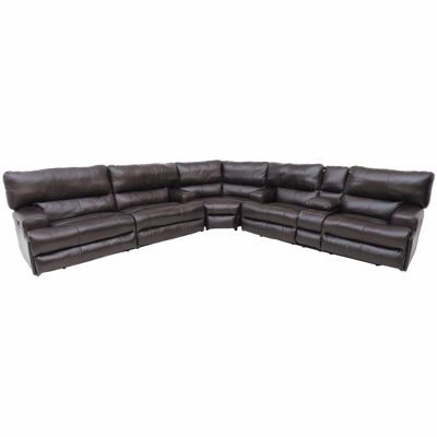 Picture of Chocolate Italian Leather 3PC Recline Sectional