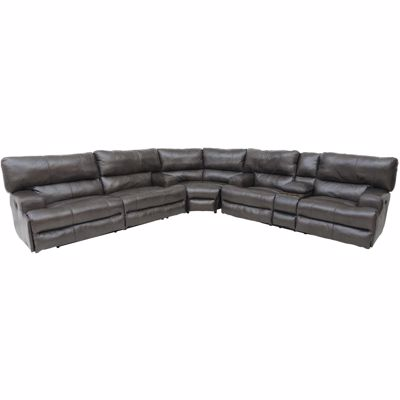 Picture of Steel Italian Leather 3PC Recline Sectional