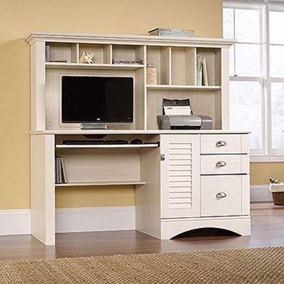 Picture of Harbor View Computer Desk W/hutch Antiqued White *