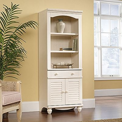 Picture of Harbor View Library With Doors Antiqued White * D