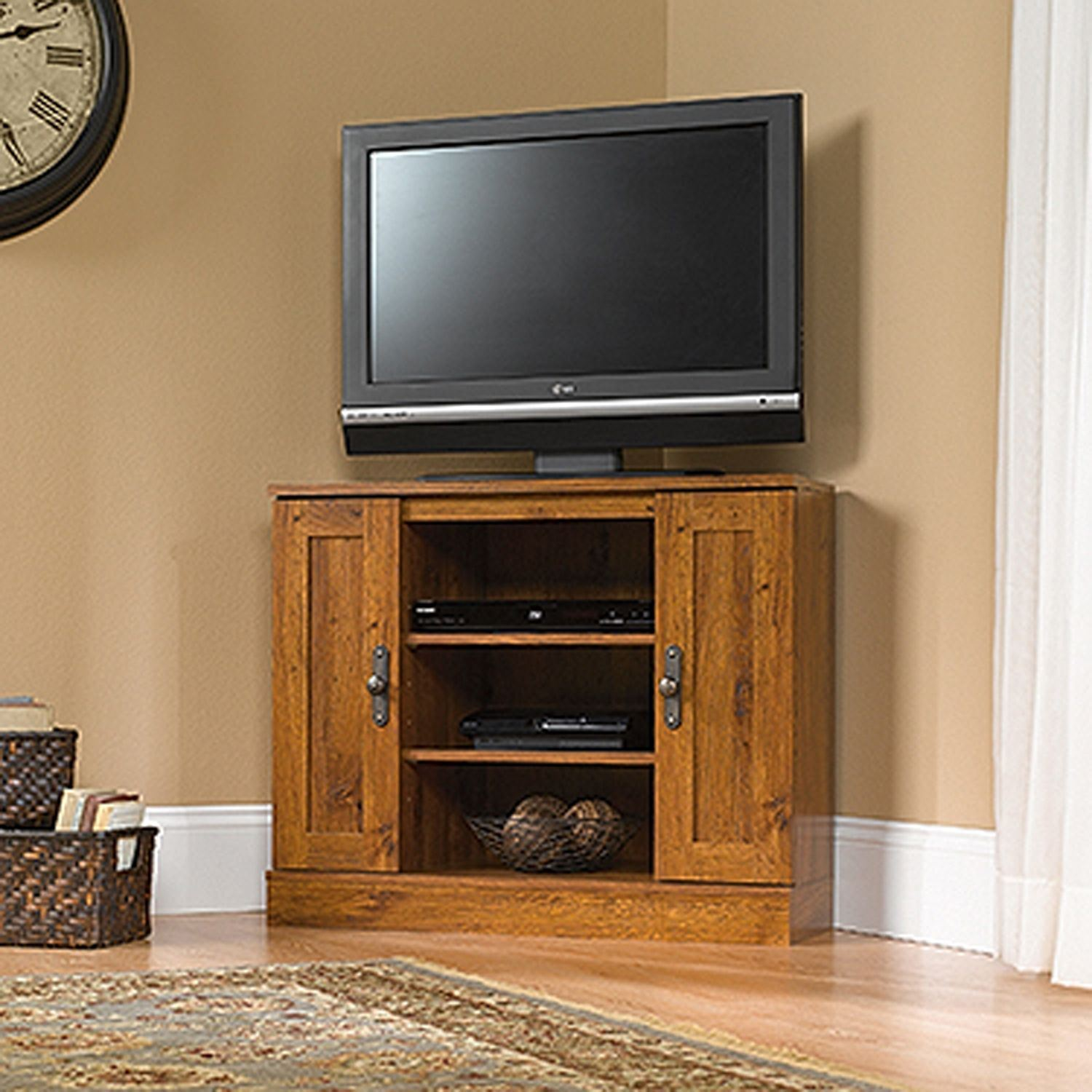 Picture of Harvest Mill Corner Entertain Stand Abbey Oak * D